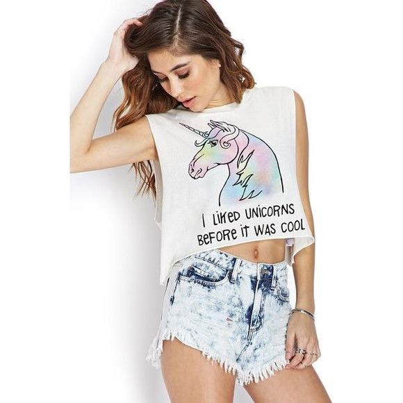 25d562ee410 Forever 21 Tops | F21 Unicorn Cropped Graphic Tee S | Poshmark